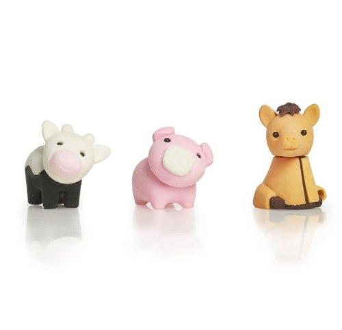 Farm Animal Erasers - Set Of 3 - NEW