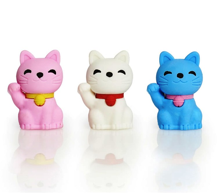 Cats Erasers - Set Of 3 - NEW