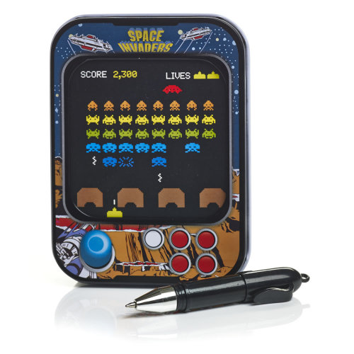 Space Invaders Memo Tin With Pen - NEW