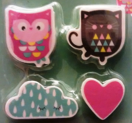 The Owl And The Pussy Cat Erasers - Set Of 4 - NEW