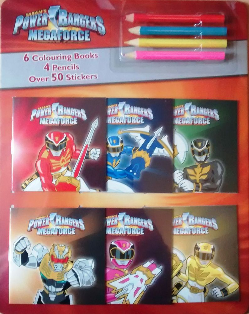 Power Rangers Megaforce - 6 Mini Colouring Books + 4 Pencils + Over 50 Stic