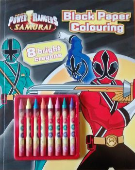 Power Rangers Samurai - Black Paper Colouring Book With Bright Crayons - NEW