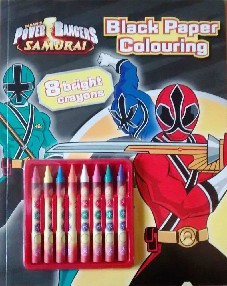 Power Rangers Samurai - Black Paper Colouring Book With Bright Crayons - NE