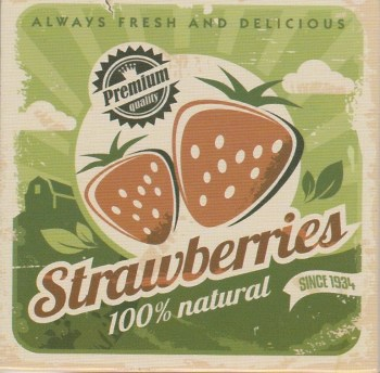Retro Style Magnet - Strawberries - NEW