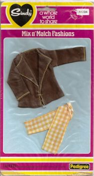 Sindy Outfit - Mix n' Match Fashions - Brown Jacket And Yellow Pants - 44334 - 1979 - NEW