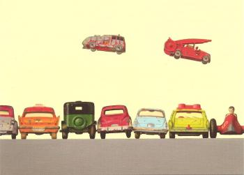 "Retro / Vintage Toy Cars - ""Fire Department Jump Race"" - Art Print - NEW"