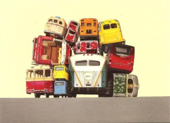 "Retro / Vintage Toy Cars - ""Bus Rears No. 3"" - Art Print - NEW"