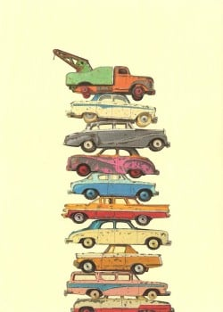 "Retro / Vintage Toy Cars - ""Duo Tones"" - Art Print - NEW"