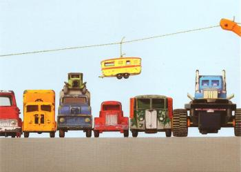 "Retro / Vintage Toy Cars - ""Truckpark With Caravan Skyride"" - Art Print - NEW"