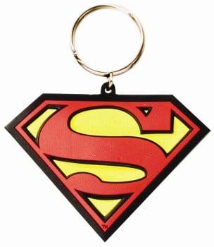 Superman - Logo Flexible Rubber Keyring / Keychain - NEW