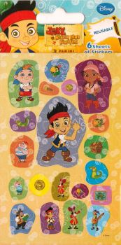 Jake And The Never Land Pirates - Mini Stickers - 6 Sheets - Disney - NEW