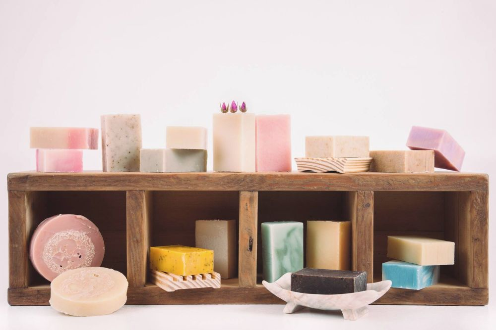 shelf of soaps