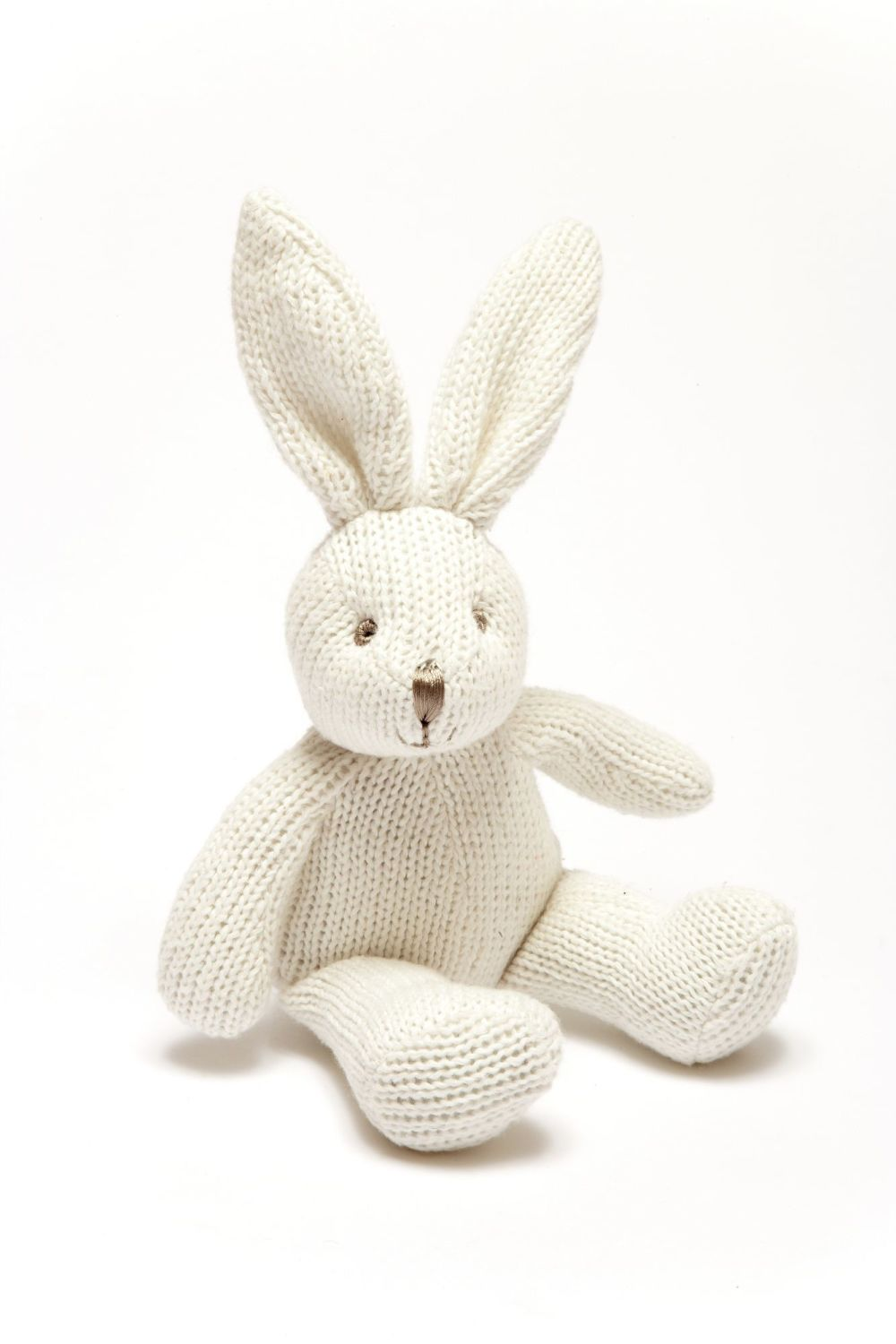 Organic Knitted Cotton White Bunny Baby Rattle