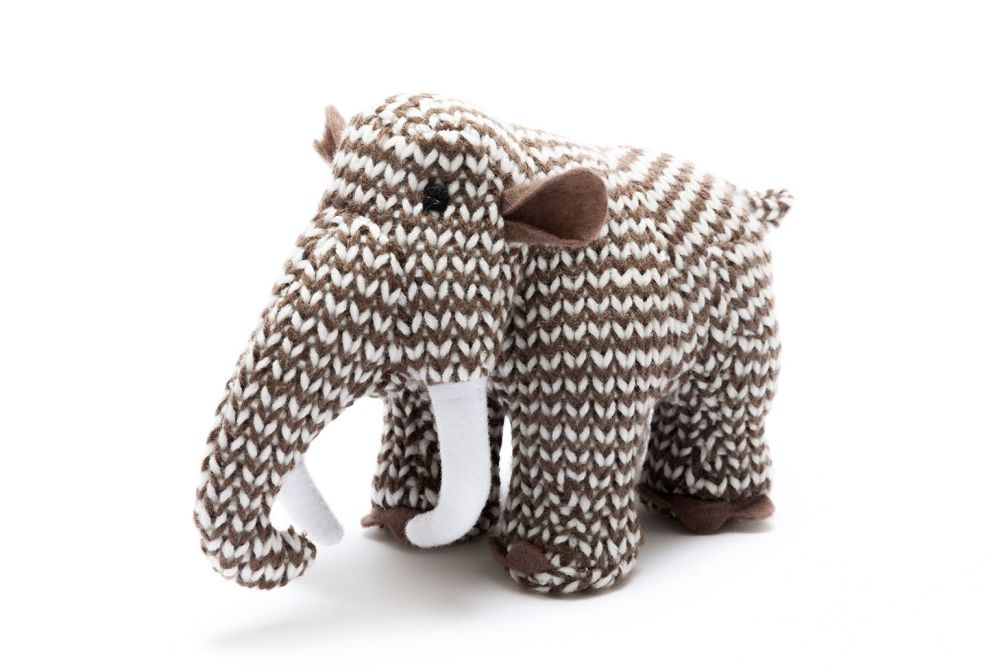 Small Woolly Mammoth Knitted Dinosaur Rattle