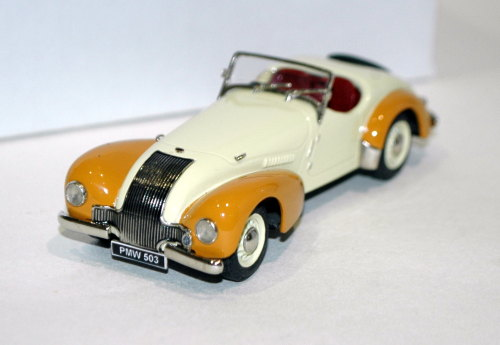 Allard K1 open roadster, two-tone cream/saffron.