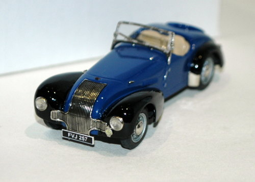 Allard K1 open roadster, two-tone, blue/black, no bumpers.