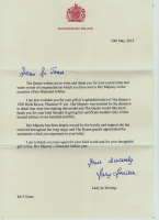 Letter received from Buckingham Palace.