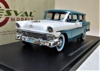 1956 CHEVROLET 150 HANDYMAN 2-DOOR STATION WAGON. LTD: 250. BLUE OVER WHITE.