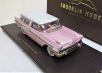 BRK227P 1957 PONTIAC SAFARI 2-DOOR STATION WAGON, PEARL WHITE OVER PINK METALLIC.