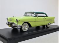 1955 OLDSMOBILE SUPER 88 HOLIDAY COUPE, TWO-TONE GREEN OVER YELLOW. LTD. ED. 125.