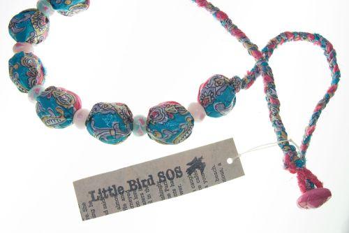 Bold saree & bead necklace - pink & blue