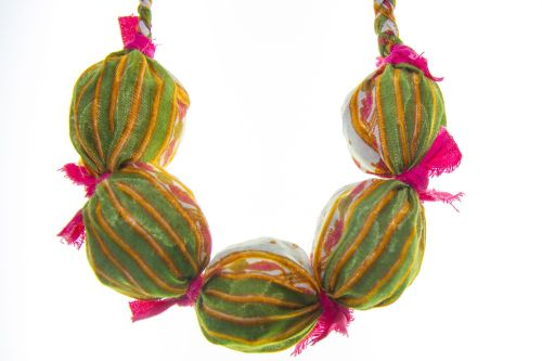 Bold saree & bead necklace - green, pink and gold