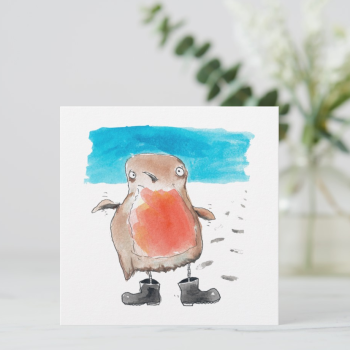 Little Robin in Wellies Greeting Card