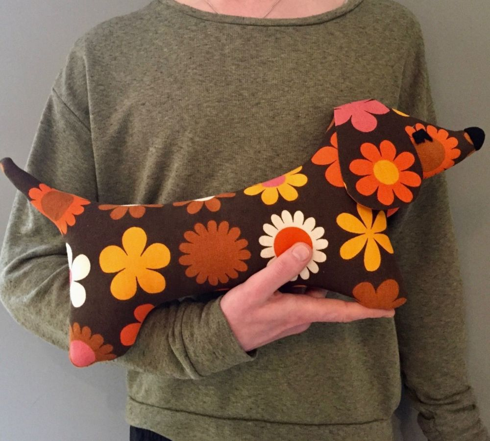 Soft Dachshund - Retro Flower Fabric