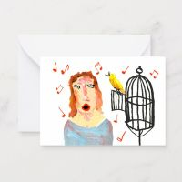 Lady Canary Singer Notecard