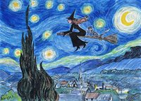 Flying on a starry night - art print