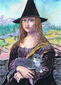 Witch Mona and her cat Lisa - Art print
