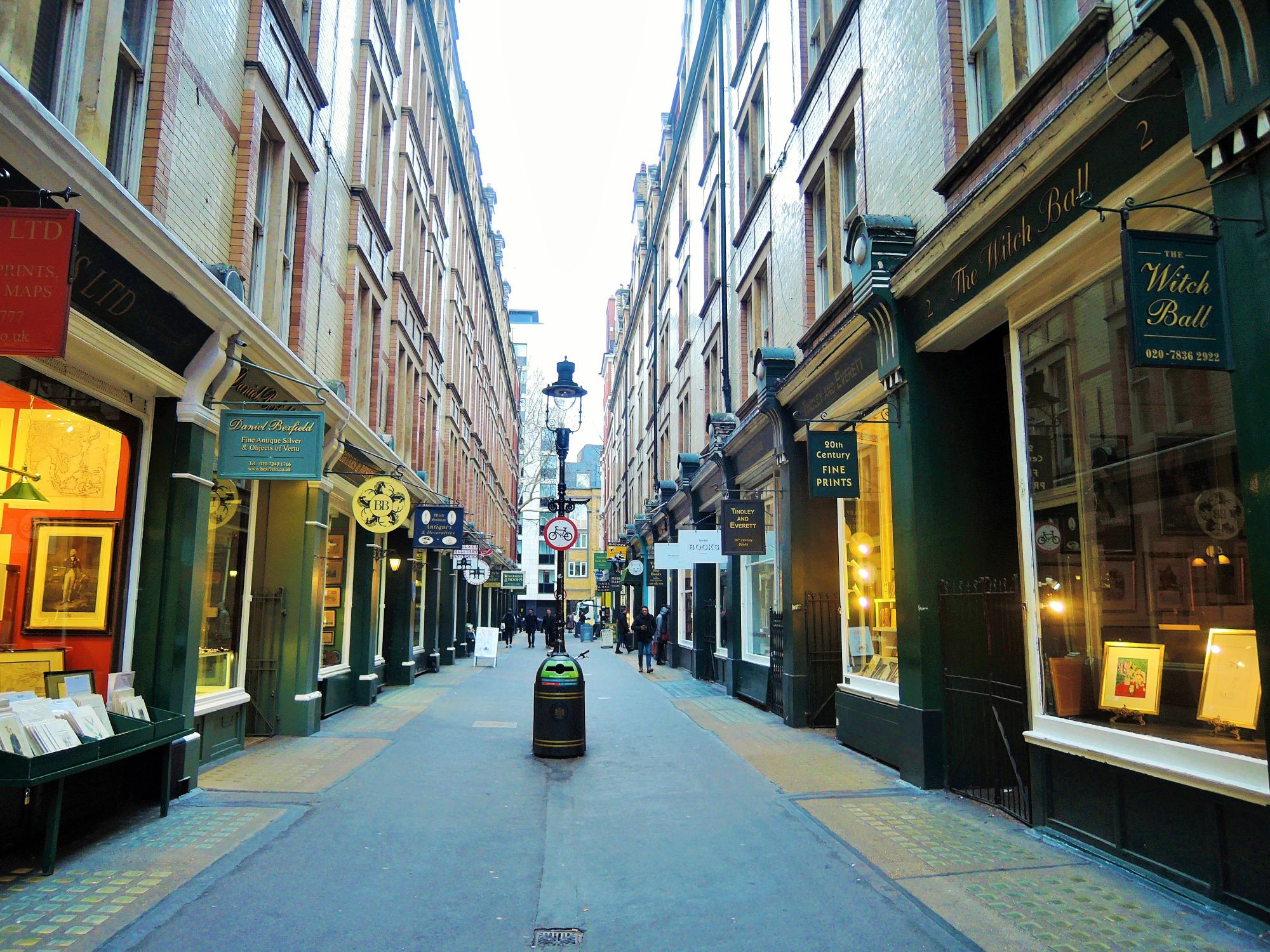 Photo of one of the hidden side streets in Westminster. This padestrian street has book and antique shops.