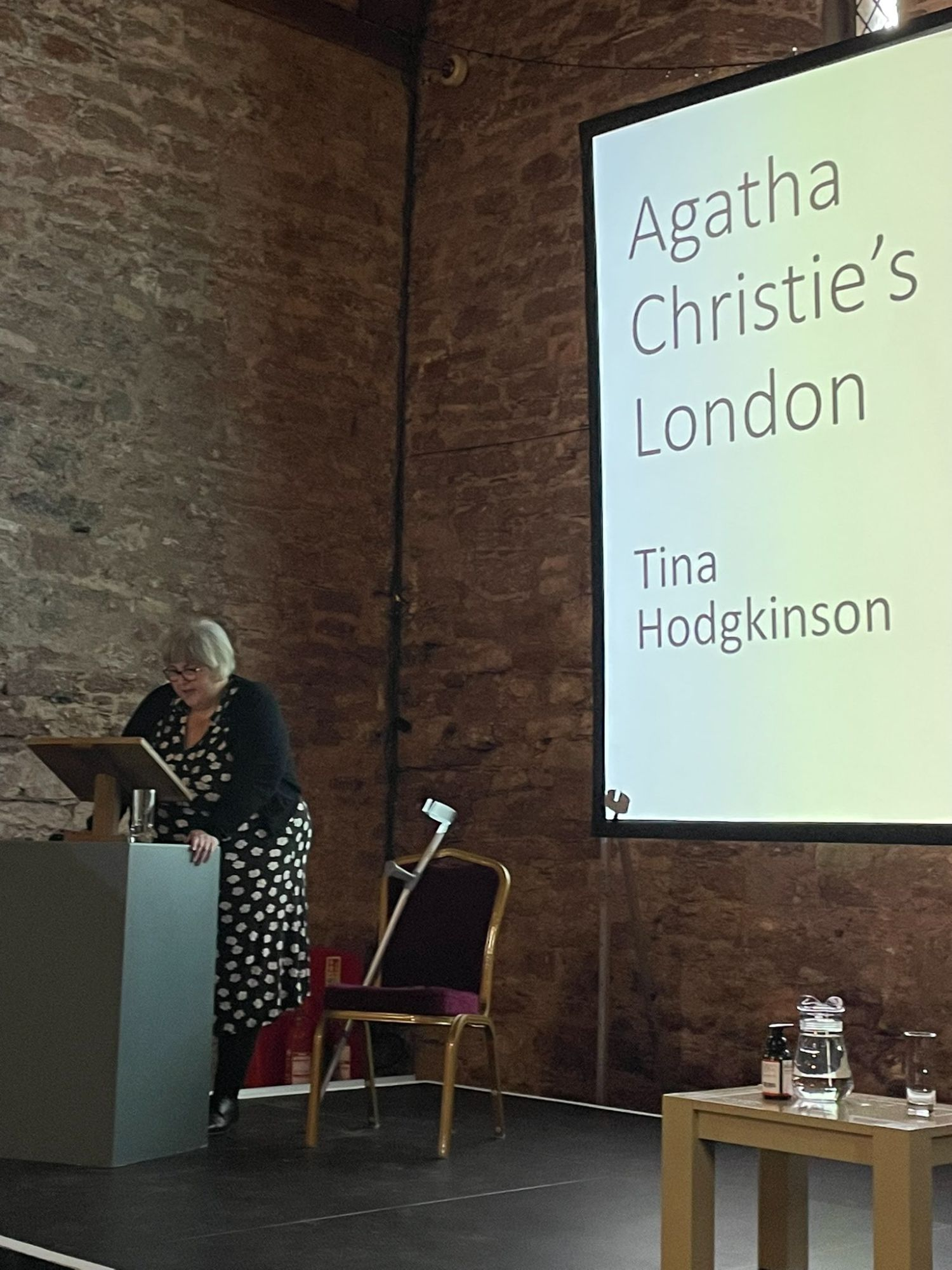 Tina speaking at the International Agatha Christie Festival