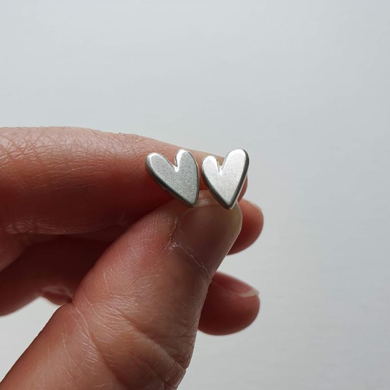 Delicate handmade  silver heart stud earrings