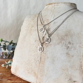 Delicate Silver  Initial necklace