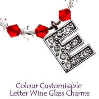 Colour Customisable Letter Wine Glass Charms