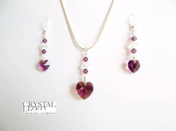 Anna - Amethyst Swarovski Heart Necklace