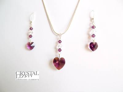 Anna - Amethyst Swarovski Heart Necklace