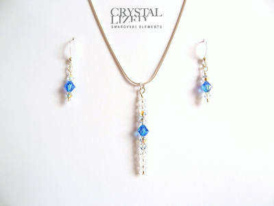 Belle - Sapphire Swarovski Crystal Icicle Necklace