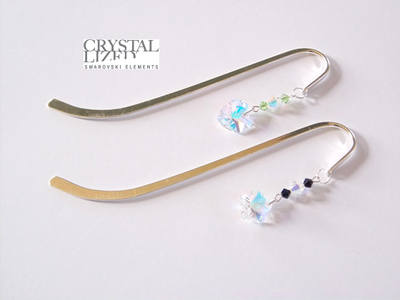 Swarovski Crystal Clear Heart or Flower Bookmark