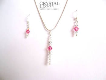 Rachel - Rose Swarovski Crystal Icicle Necklace