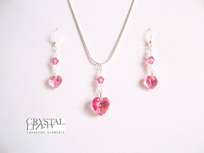 Rebecca - Rose Pink Swarovski Heart Earrings