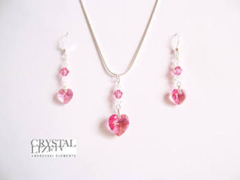 Rebecca - Rose Pink Swarovski Heart Necklace