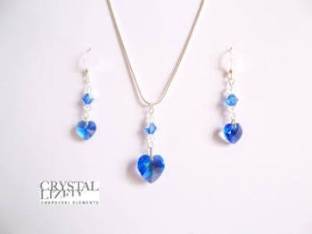 Sophie - Sapphire Swarovski Heart Earrings