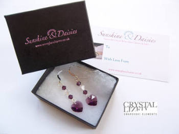 Anna - Amethyst Swarovski Heart Earrings