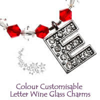 Christmas Colour Customisable Wine Glass Charms With Letters