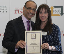 Receiving our Small Business Award from BBC Dragon Theo Paphitis