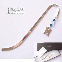 Swarovski Silver Plated Initial Bookmark