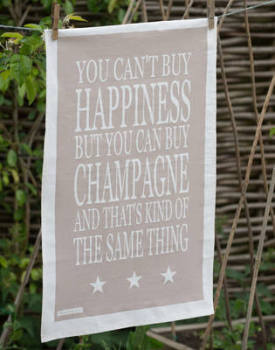 You Cant Buy Happiness But You Can Buy Champagne Tea Towel
