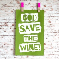 God Save The Wine Tea Towel - Green